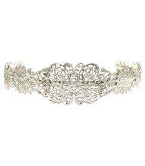 tiara rendada larga - prata