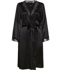 kimono silk lace trim morgonrock svart hunkemöller