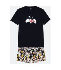 pijama curto em poliviscose estampa frajola | warner bros | preto | p