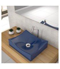 cuba de apoio p/banheiro compace milla m44w retangular azul escuro