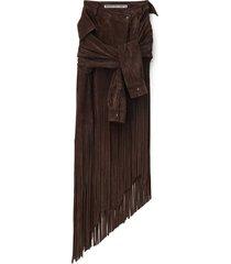 brown suede fringe skirt