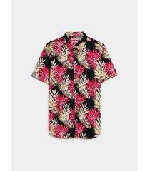 camisa slim fit maxi flores