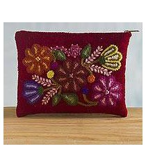 embroidered wool cosmetic bag, 'highland wine' (peru)