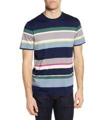 men's big & tall ted baker london stripe t-shirt, size 7 - blue