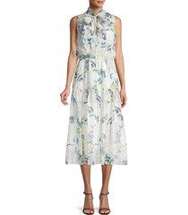 bcbgeneration women's floral-print midi dress - white multi - size s