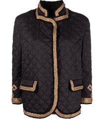 ermanno scervino braided trim quilted jacket - black