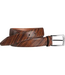 men's johnston & murphy diagonal embossed leather belt, size 40 - tan