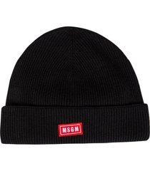 msgm logo patched ribbed beanie