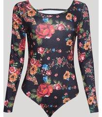 body feminino estampado floral canelado manga longa decote redondo preto