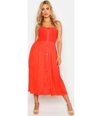 plus gesmokte midi jurk met knoop detail, oranje