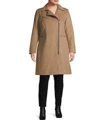 plus wool-blend moto coat