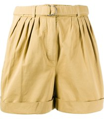 acne studios high-waisted belted shorts - yellow