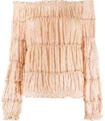 missoni off-the-shoulder tiered blouse - gold