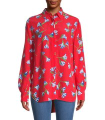 rag & bone women's floral long-sleeve shirt - red floral - size xs