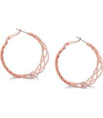 """guess rose gold-tone 1 1/2"""" twisted lattice medium hoop earrings"""