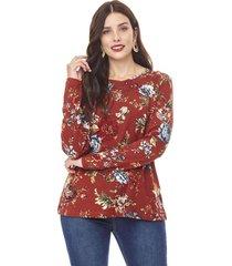 sweater camant mujer rojo flores corona