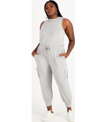 nina parker trendy plus size sleeveless knit jumpsuit, created for macy's