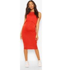 zwangerschap borstvoeding bodycon jurk, rust