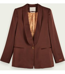 scotch & soda single-breasted blazer met satijnen details