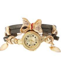 orologio da donna con cinturino in pelle multistrato di moda con quadrante rotondo al quarzo e orologio bowknot