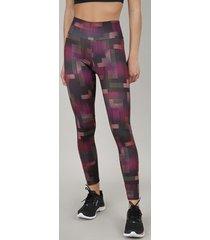 calça legging feminina esportiva ace estampada geométrica com proteção uv50+ vinho