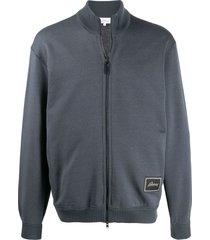 brioni ribbed zip-up sweatshirt - grey