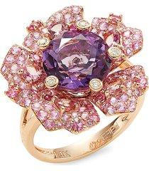 effy 14k rose gold amethyst, pink tourmaline, pink sapphire & diamond flower ring/size 7 - size 7