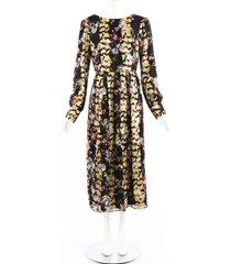 saloni camille multicolor floral jacquard silk lurex maxi dress black/multicolor/floral print sz: m