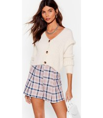 womens let's get the cheque high-waisted tailored shorts - beige