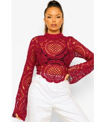 gehaakte kanten crop top met turtle neck, berry
