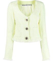 alexander wang v-neck tweed cardigan - green