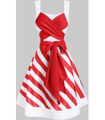 christmas striped faux fur insert bowknot dress