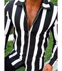 incerun cremallera de manga larga con estampado de rayas de moda para hombre camisa