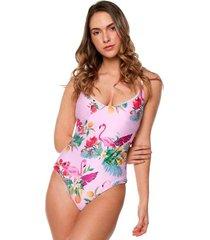 vestidos de baño enterizo jessie de la rosa lingerie para mujer - flamingos