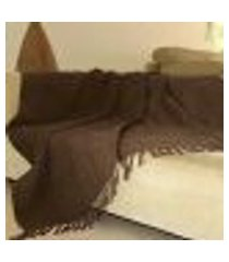 manta para sofá chenille ambiance - 140 x 200 cm tabaco