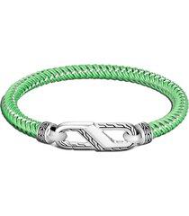 john hardy men's classic chain double woven rubber bracelet, size medium in green at nordstrom