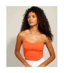 top cropped corset com recortes tomara que caia laranja