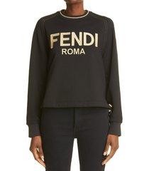 women's fendi metallic logo sweatshirt, size small - black