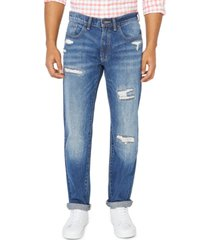 nautica jeans co. men's original relaxed-fit destroyed jeans