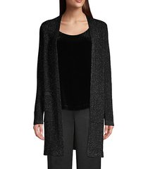 metallic merino wool-blend longline cardigan