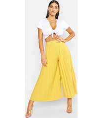 high waist pleated wide leg culottes, chartreuse