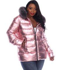 white mark women's plus size metallic puffer coat with hoodie