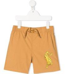 mini rodini leopard print swim shorts - neutrals