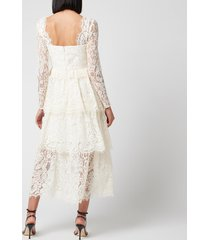 self portrait women's fine corded lace tiered midi dress - ivory - uk 12
