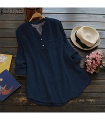 zanzea ocasional de las mujeres de manga larga blusa del algodón camiseta botón perder hasta tapa de la túnica -azul