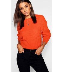 tall crew neck crop sweater, orange