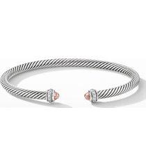 david yurman 4mm cable classic bracelet with semiprecious stones & diamonds, size small in morganite at nordstrom