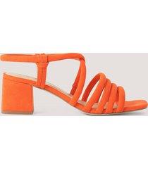 na-kd shoes sandal med blockklack - orange
