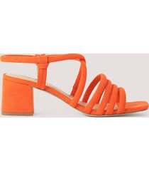 na-kd shoes sandal med blockklack - orange