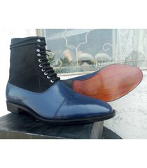 handmade ankle high cap toe boots, dress men's two tone jean fashion boots